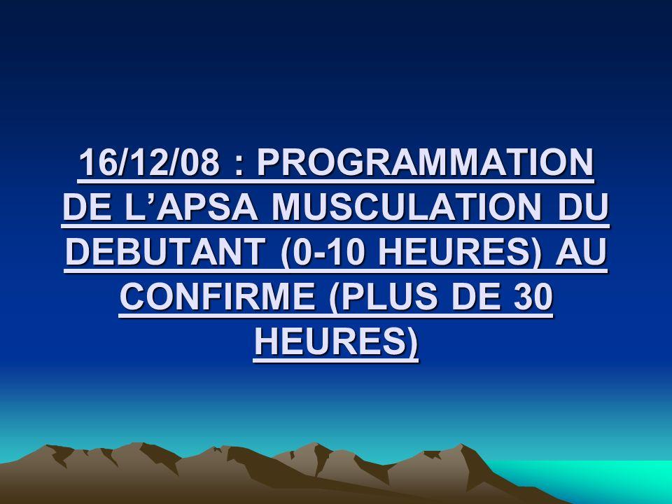 16/12/08 : PROGRAMMATION DE LAPSA MUSCULATION DU DEBUTANT (0-10 HEURES) AU CONFIRME (PLUS DE 30 HEURES)