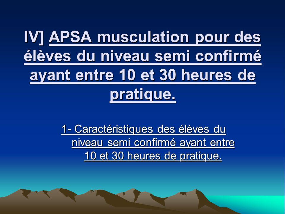 IV] APSA musculation pour des élèves du niveau semi confirmé ayant entre 10 et 30 heures de pratique. 1- Caractéristiques des élèves du niveau semi co