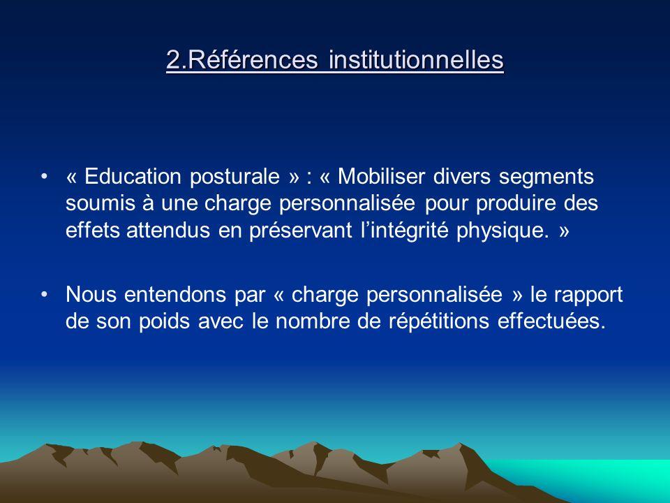 2.Références institutionnelles « Education posturale » : « Mobiliser divers segments soumis à une charge personnalisée pour produire des effets attend