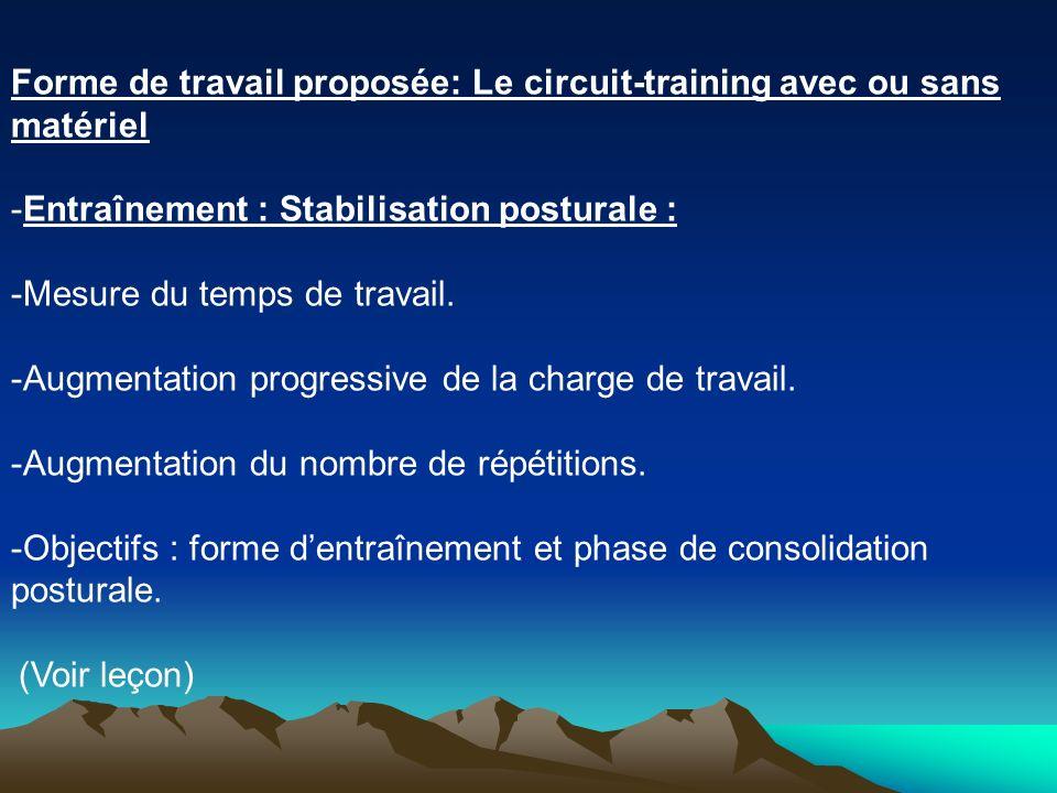 Forme de travail proposée: Le circuit-training avec ou sans matériel -Entraînement : Stabilisation posturale : -Mesure du temps de travail. -Augmentat