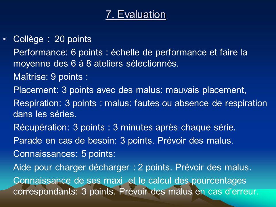 Collège : 20 points Performance: 6 points : échelle de performance et faire la moyenne des 6 à 8 ateliers sélectionnés. Maîtrise: 9 points : Placement