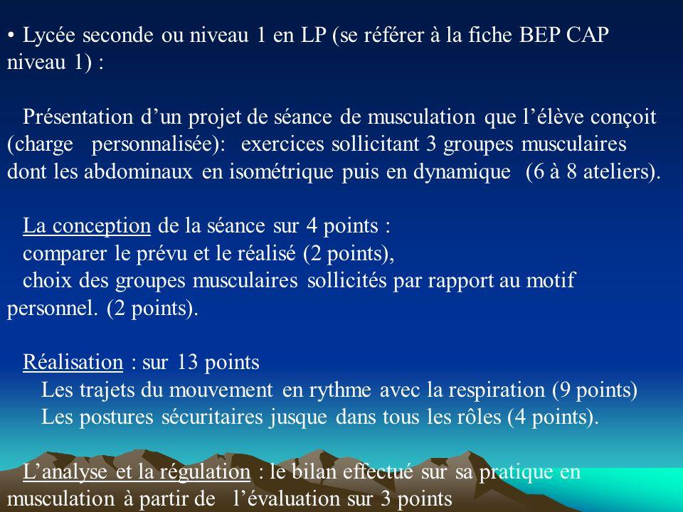 Lycée seconde ou niveau 1 en LP (se référer à la fiche BEP CAP niveau 1) : Présentation dun projet de séance de musculation que lélève conçoit (charge