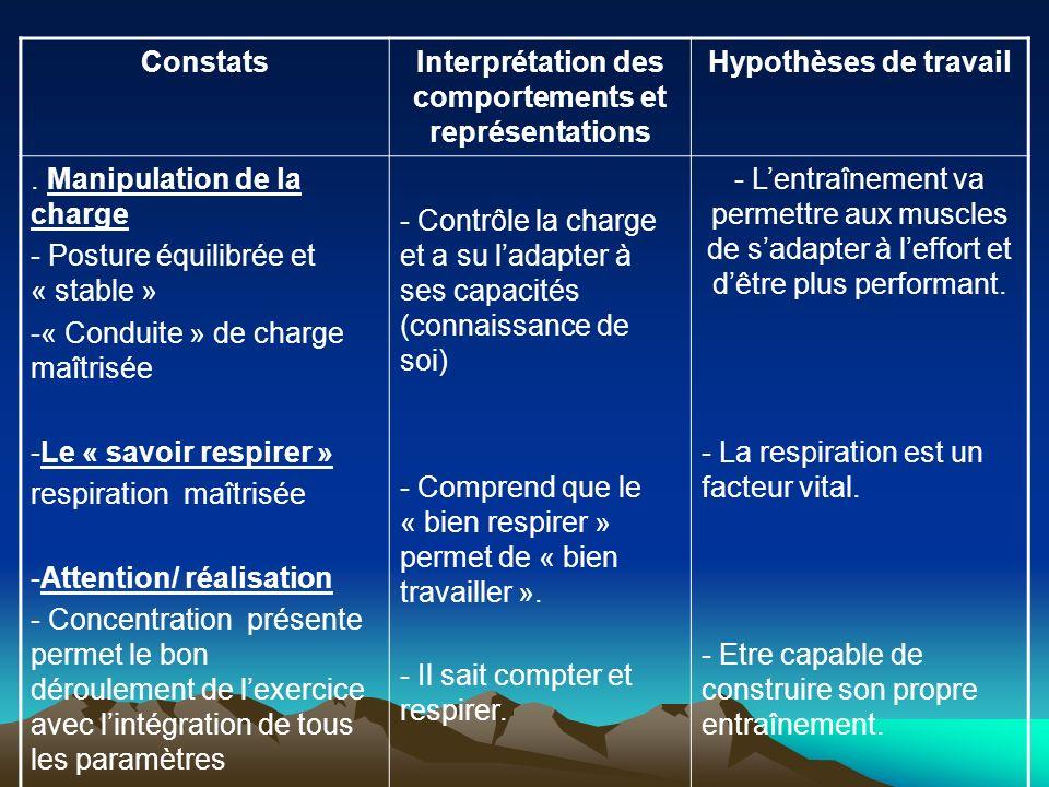 ConstatsInterprétation des comportements et représentations Hypothèses de travail. Manipulation de la charge - Posture équilibrée et « stable » -« Con