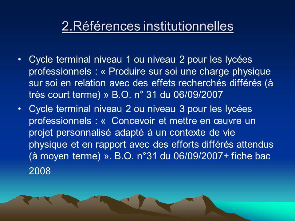 2.Références institutionnelles Cycle terminal niveau 1 ou niveau 2 pour les lycées professionnels : « Produire sur soi une charge physique sur soi en