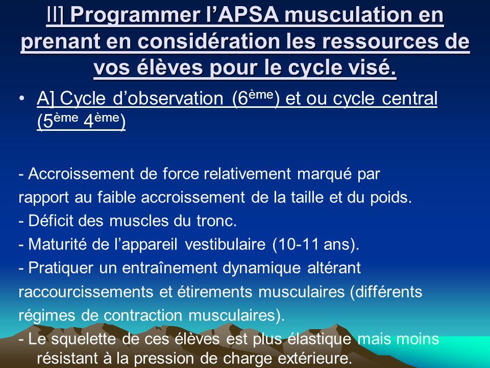 II] Programmer lAPSA musculation en prenant en considération les ressources de vos élèves pour le cycle visé. A] Cycle dobservation (6 ème ) et ou cyc
