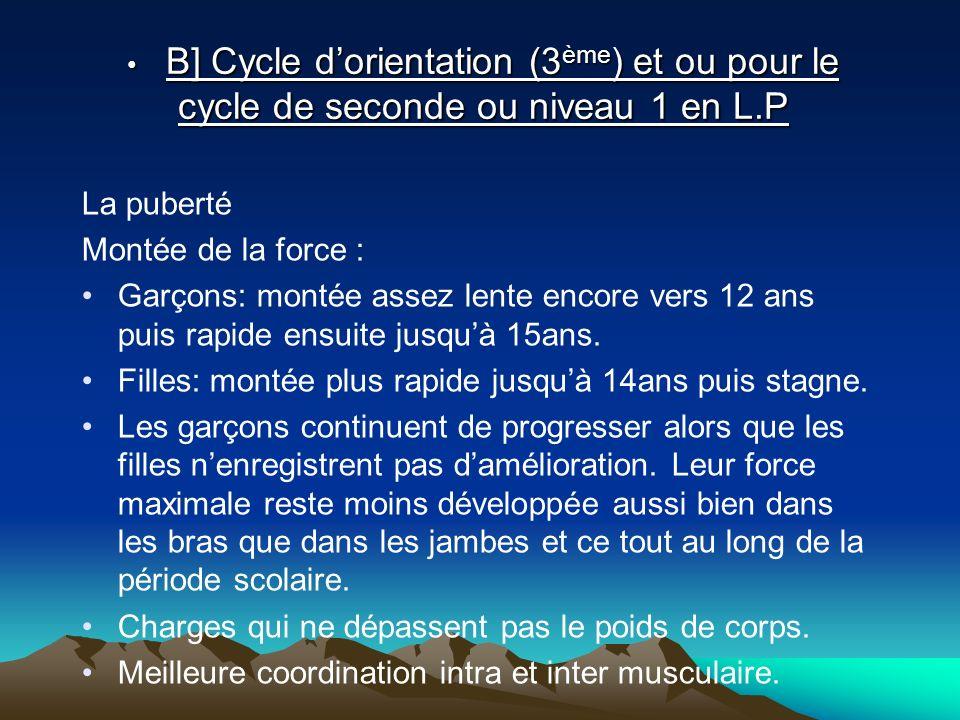 B] Cycle dorientation (3 ème ) et ou pour le cycle de seconde ou niveau 1 en L.P B] Cycle dorientation (3 ème ) et ou pour le cycle de seconde ou nive