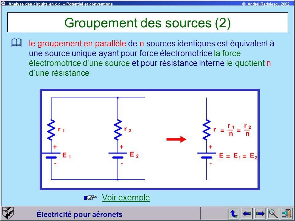 Électricité pour aéronefs © Andrei Radulescu 2002Analyse des circuits en c.c. – Potentiel et conventions Groupement des sources (2) le groupement en p