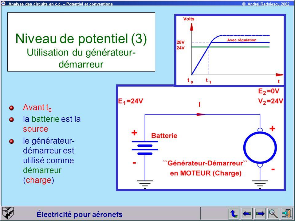 Électricité pour aéronefs © Andrei Radulescu 2002Analyse des circuits en c.c. – Potentiel et conventions Niveau de potentiel (3) Utilisation du généra