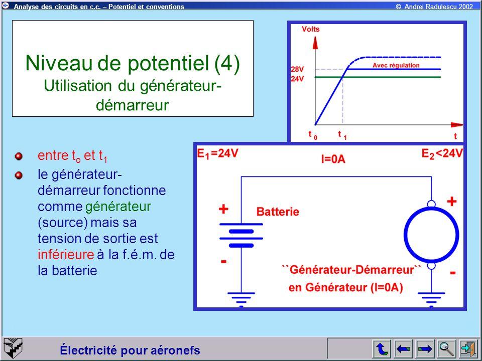 Électricité pour aéronefs © Andrei Radulescu 2002Analyse des circuits en c.c. – Potentiel et conventions Niveau de potentiel (4) Utilisation du généra