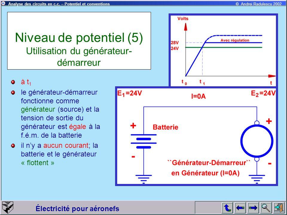 Électricité pour aéronefs © Andrei Radulescu 2002Analyse des circuits en c.c. – Potentiel et conventions Niveau de potentiel (5) Utilisation du généra