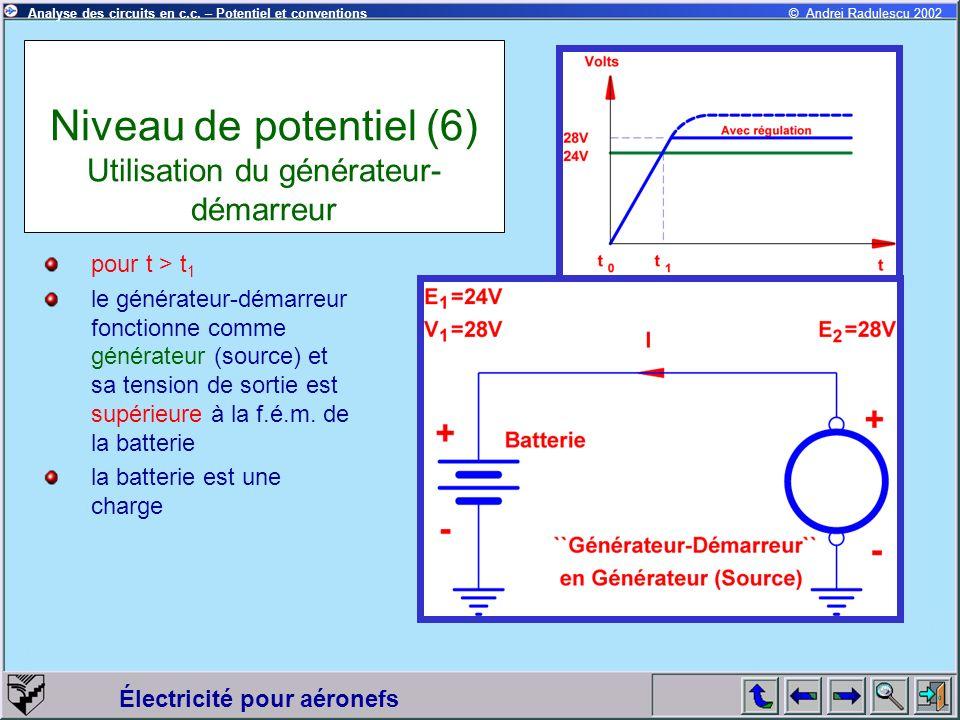 Électricité pour aéronefs © Andrei Radulescu 2002Analyse des circuits en c.c. – Potentiel et conventions Niveau de potentiel (6) Utilisation du généra