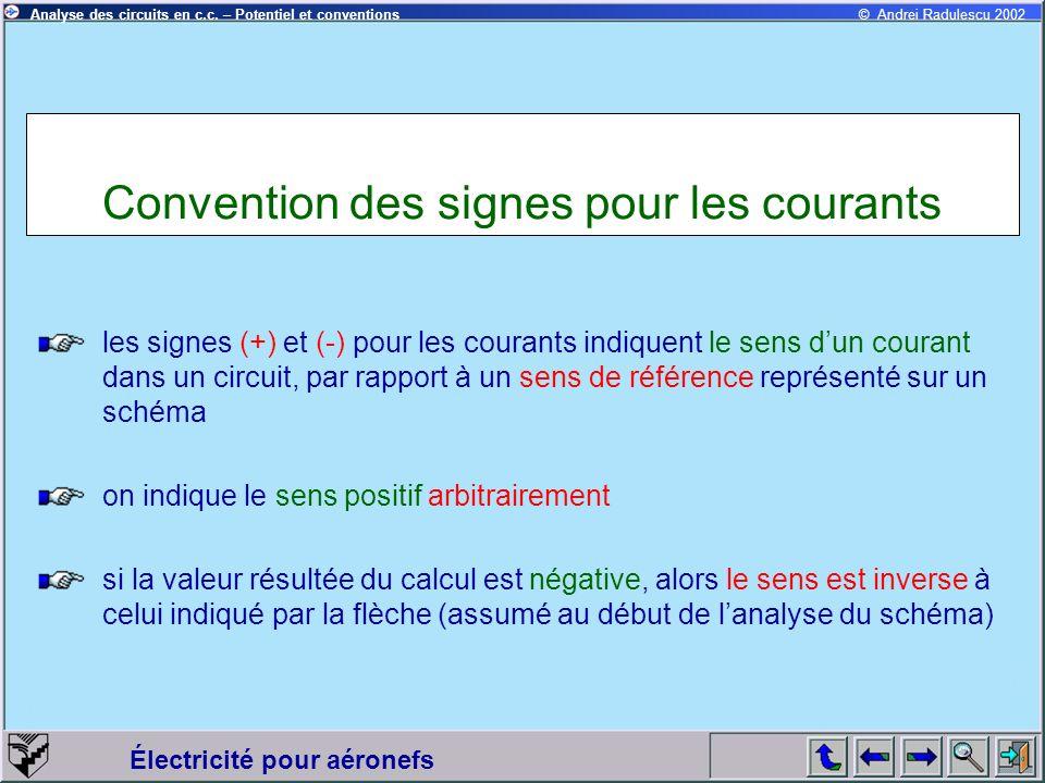 Électricité pour aéronefs © Andrei Radulescu 2002Analyse des circuits en c.c. – Potentiel et conventions Convention des signes pour les courants les s
