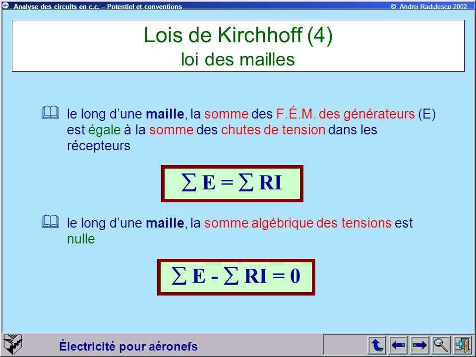 Électricité pour aéronefs © Andrei Radulescu 2002Analyse des circuits en c.c. – Potentiel et conventions Lois de Kirchhoff (4) loi des mailles le long