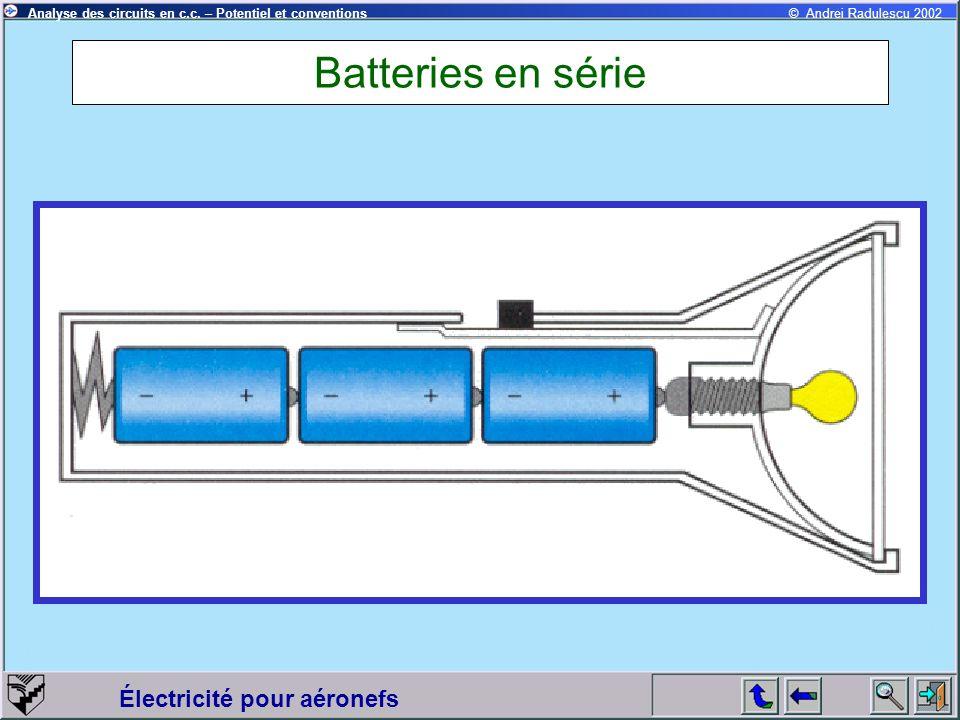Électricité pour aéronefs © Andrei Radulescu 2002Analyse des circuits en c.c. – Potentiel et conventions Batteries en série