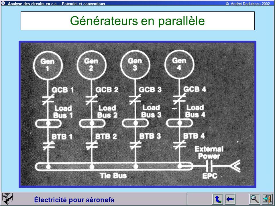 Électricité pour aéronefs © Andrei Radulescu 2002Analyse des circuits en c.c. – Potentiel et conventions Générateurs en parallèle