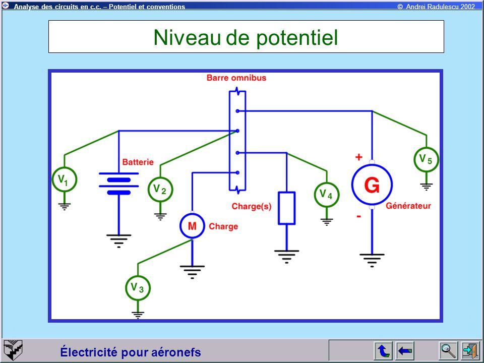 Électricité pour aéronefs © Andrei Radulescu 2002Analyse des circuits en c.c. – Potentiel et conventions Niveau de potentiel