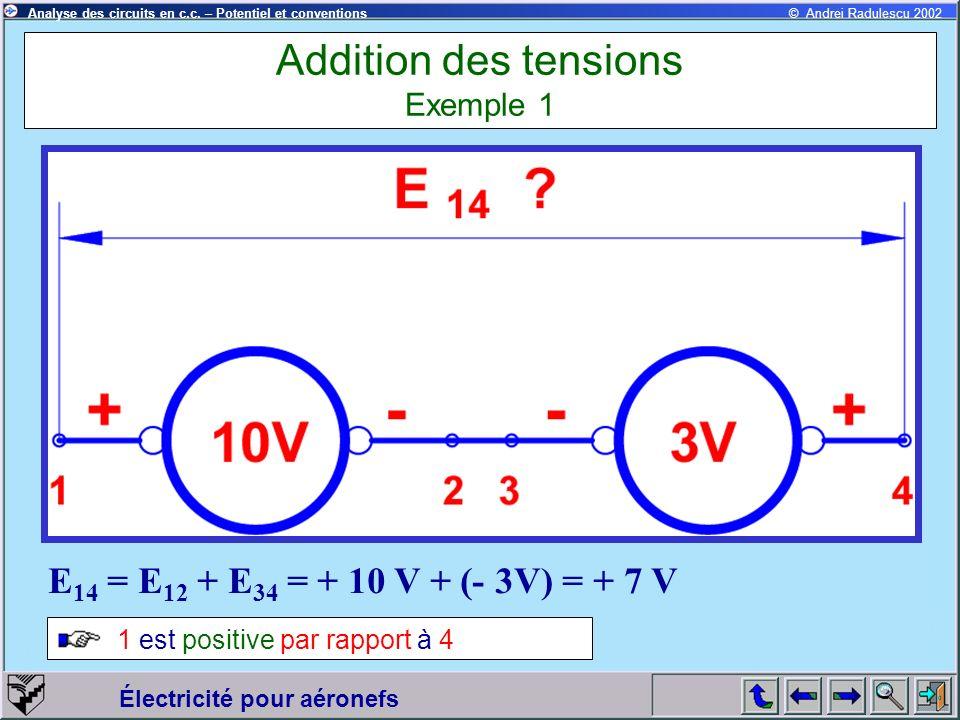 Électricité pour aéronefs © Andrei Radulescu 2002Analyse des circuits en c.c. – Potentiel et conventions Addition des tensions Exemple 1 E 14 = E 12 +