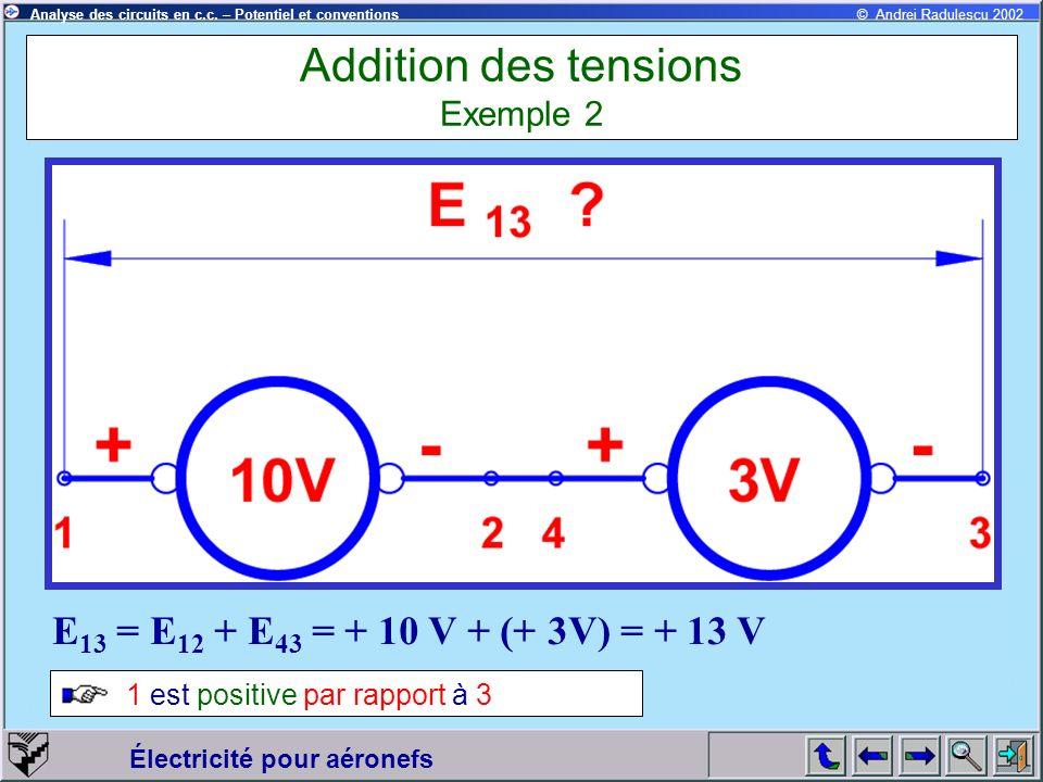 Électricité pour aéronefs © Andrei Radulescu 2002Analyse des circuits en c.c. – Potentiel et conventions Addition des tensions Exemple 2 E 13 = E 12 +