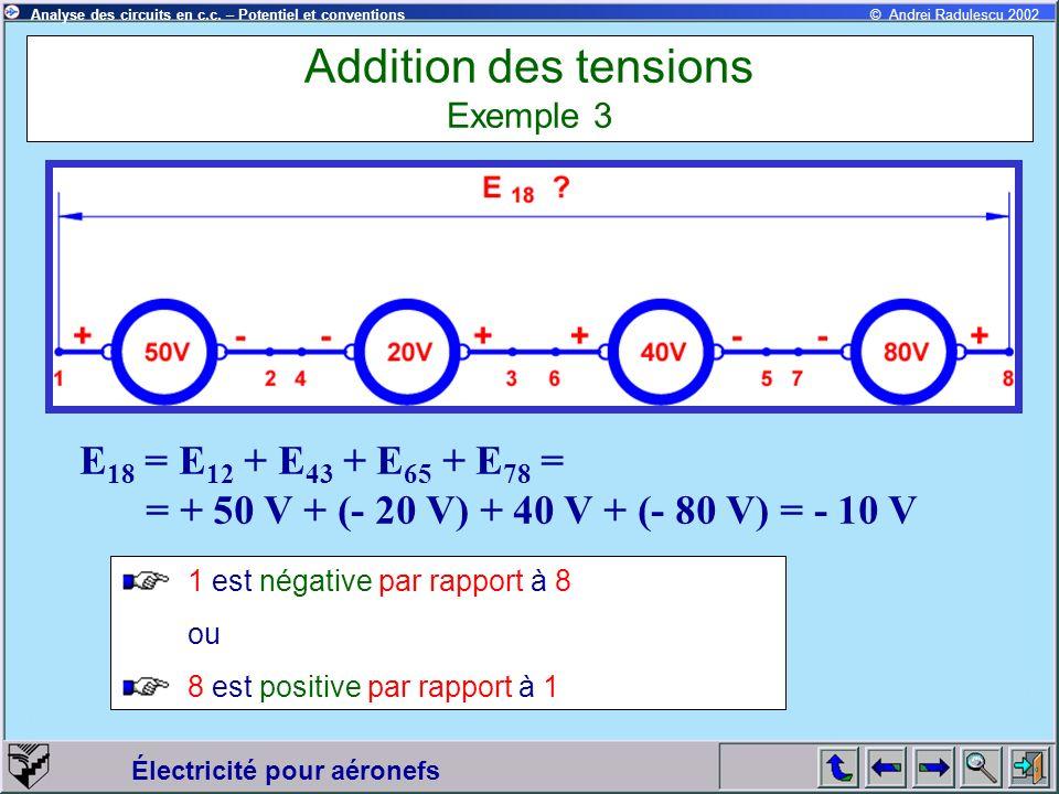 Électricité pour aéronefs © Andrei Radulescu 2002Analyse des circuits en c.c. – Potentiel et conventions Addition des tensions Exemple 3 E 18 = E 12 +