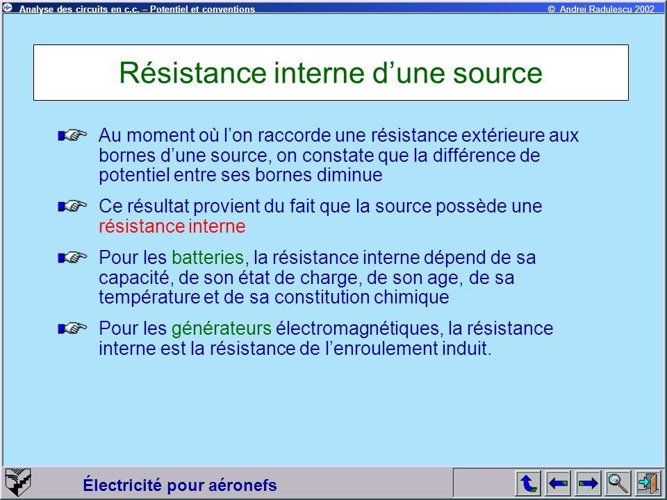 Électricité pour aéronefs © Andrei Radulescu 2002Analyse des circuits en c.c. – Potentiel et conventions Résistance interne dune source Au moment où l