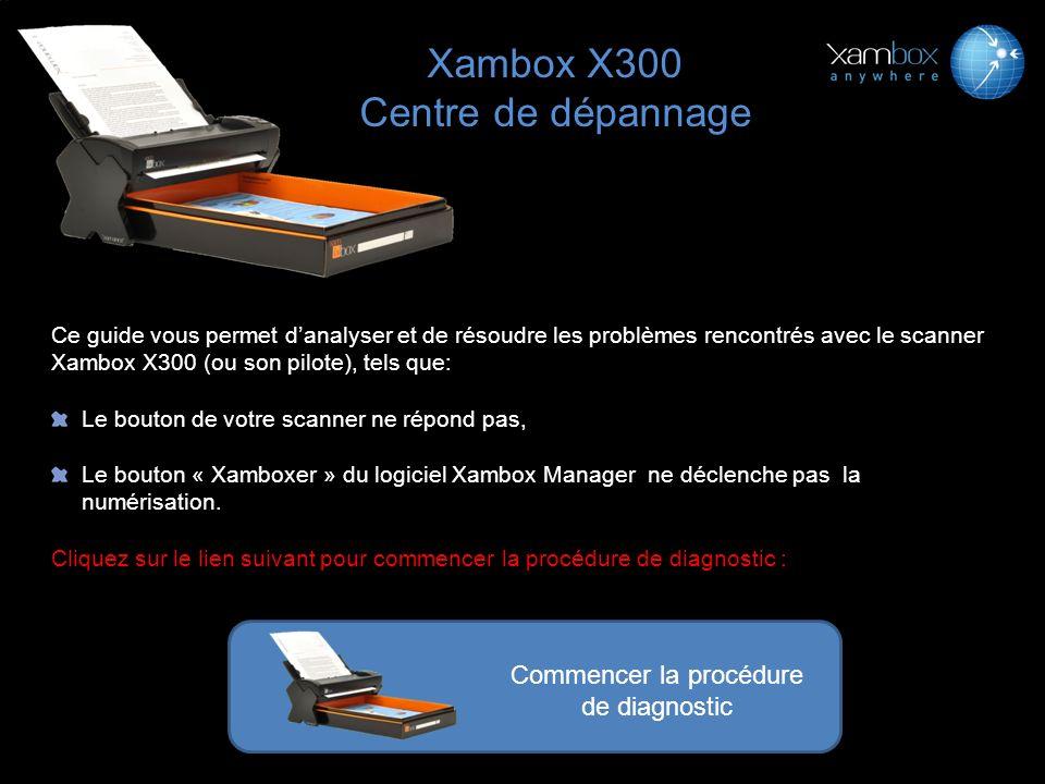 Ce guide vous permet danalyser et de résoudre les problèmes rencontrés avec le scanner Xambox X300 (ou son pilote), tels que: Le bouton de votre scann