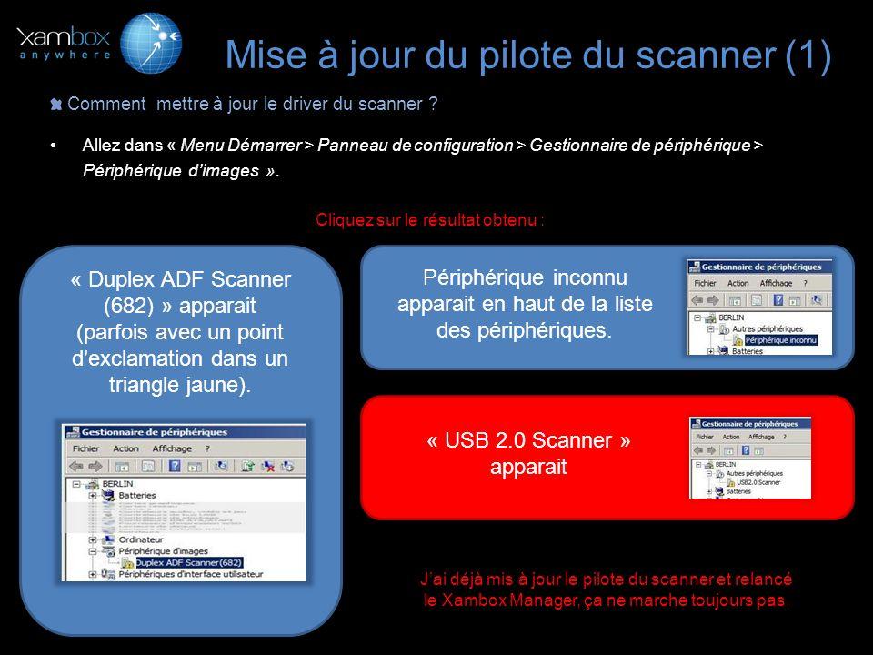 1.Faites un clic droit pour faire apparaître le menu contextuel et sélectionnez « Mettre à jour le pilote logiciel », 2.Sélectionnez dans la nouvelle fenêtre « Rechercher un pilote logiciel sur mon ordinateur », 3Sélectionnez le dossier Xambox X300 situé dans « C:\Program Files\Xamance\Xambox X300 » et cochez la case « Inclure les sous dossiers », 4Cliquez sur « Suivant » ; le pilote se met à jour.