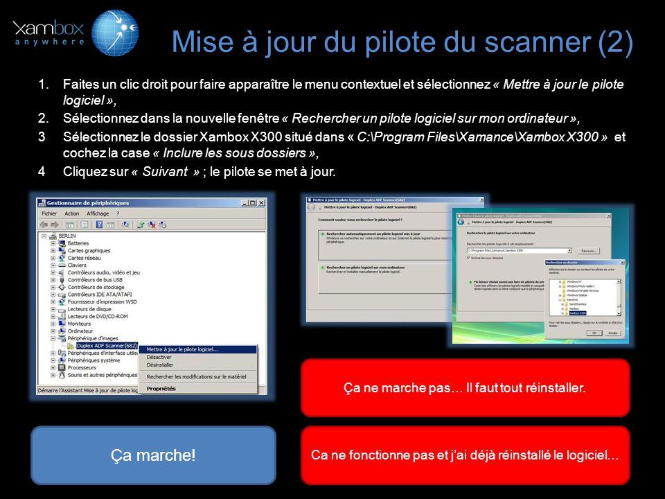 Procédure de Désinstallation / Réinstallation (1) Désinstallation 1.Eteignez votre scanner avec le bouton ON/OFF à larrière de lappareil, 2.Allez dans « Menu Démarrer > Programmes > Xamance > Xambox X300 > Désinstaller », 3.Redémarrez votre ordinateur.