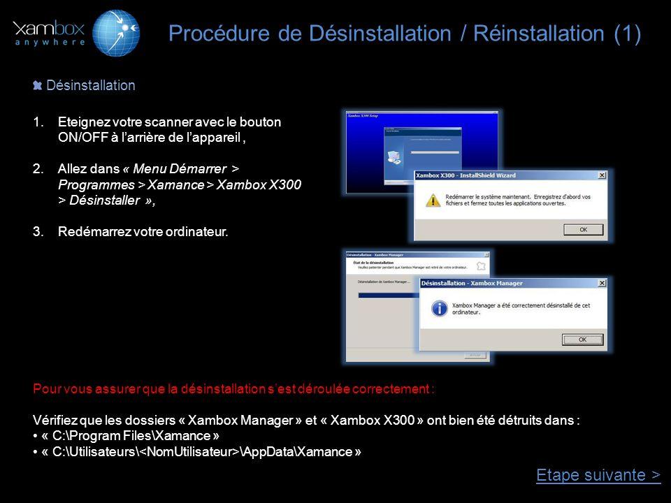 Procédure de Désinstallation / Réinstallation (1) Désinstallation 1.Eteignez votre scanner avec le bouton ON/OFF à larrière de lappareil, 2.Allez dans