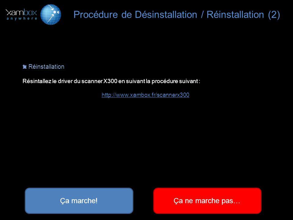 Réinstallation Résintallez le driver du scanner X300 en suivant la procédure suivant : http://www.xambox.fr/scannerx300 Procédure de Désinstallation /