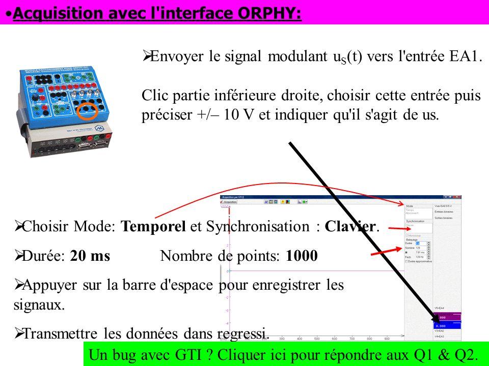 Acquisition avec l'interface ORPHY: Envoyer le signal modulant u S (t) vers l'entrée EA1. Clic partie inférieure droite, choisir cette entrée puis pré