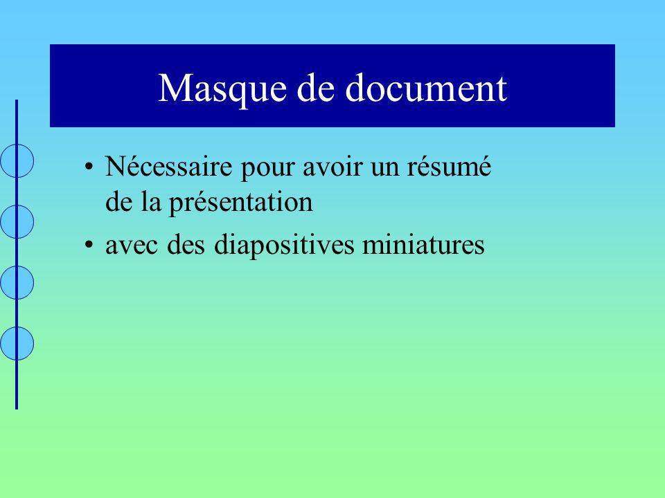 Masque de document Nécessaire pour avoir un résumé de la présentation avec des diapositives miniatures