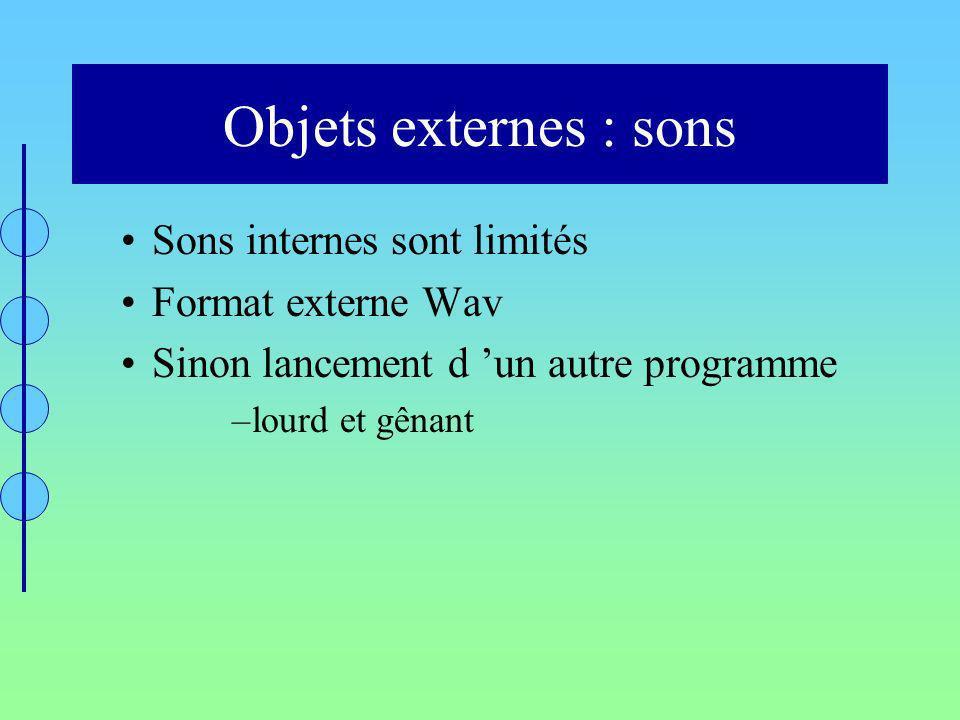 Objets externes : sons Sons internes sont limités Format externe Wav Sinon lancement d un autre programme –lourd et gênant