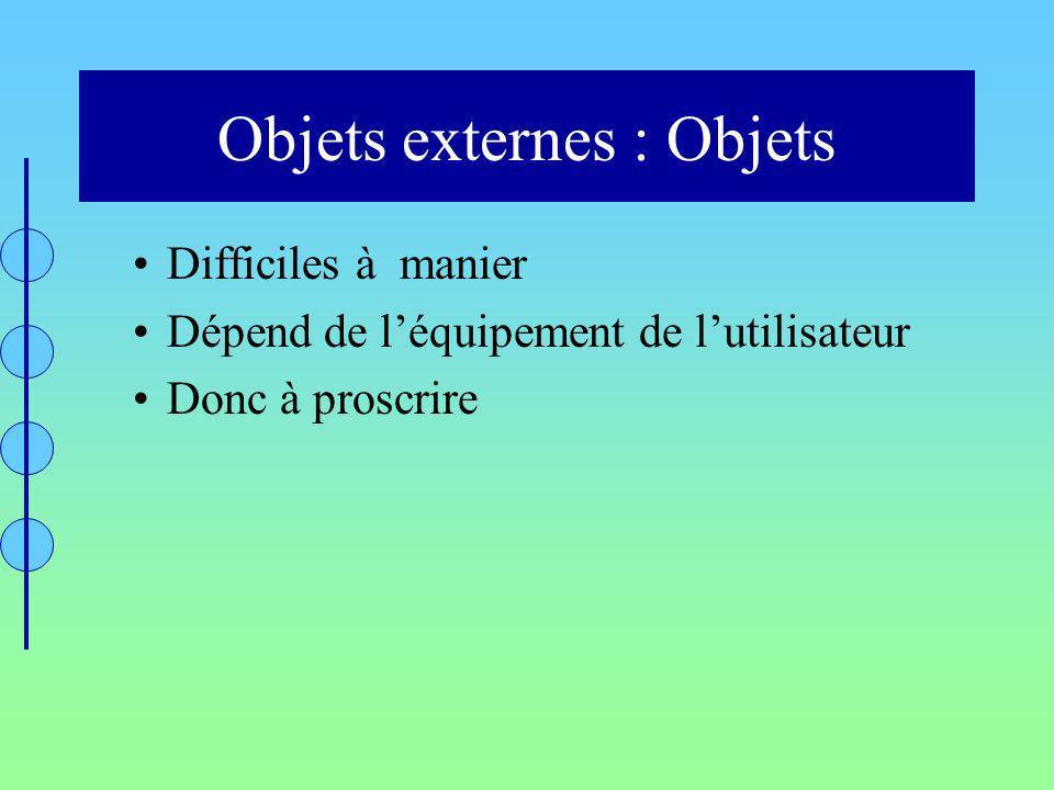 Objets externes : Objets Difficiles à manier Dépend de léquipement de lutilisateur Donc à proscrire