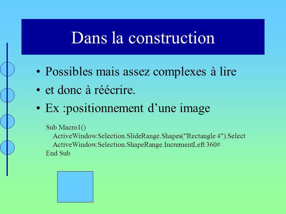Dans la construction Possibles mais assez complexes à lire et donc à réécrire. Ex :positionnement dune image Sub Macro1() ActiveWindow.Selection.Slide