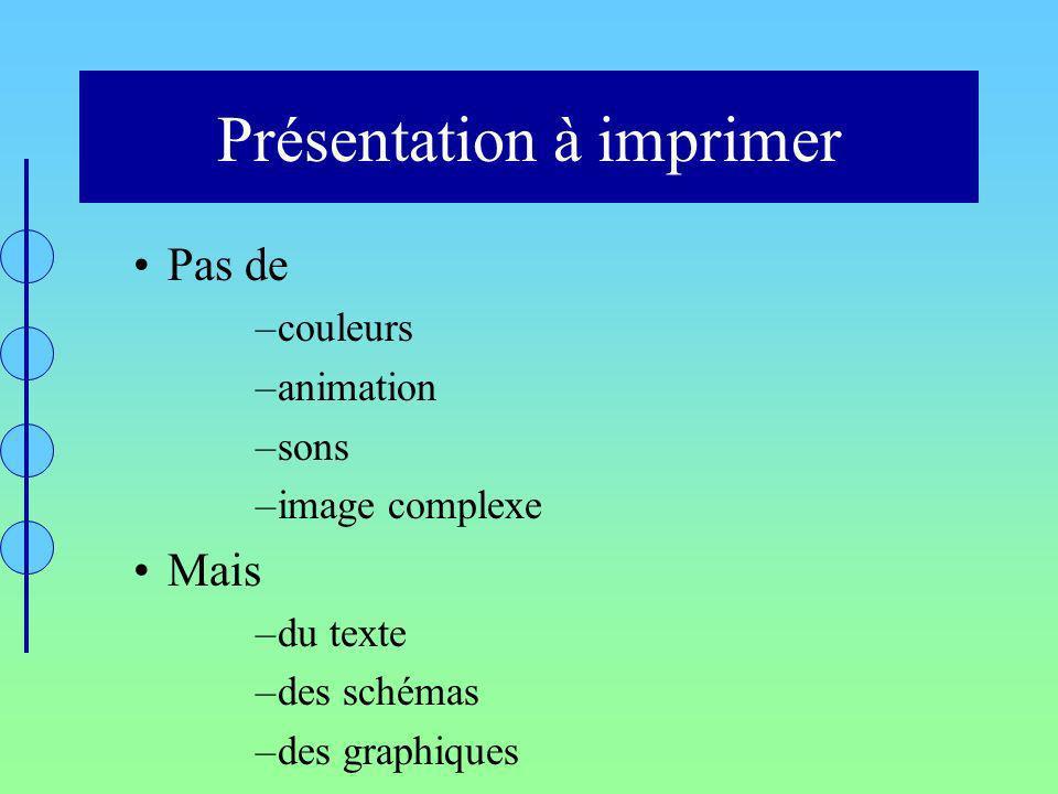 Présentation à imprimer Pas de –couleurs –animation –sons –image complexe Mais –du texte –des schémas –des graphiques