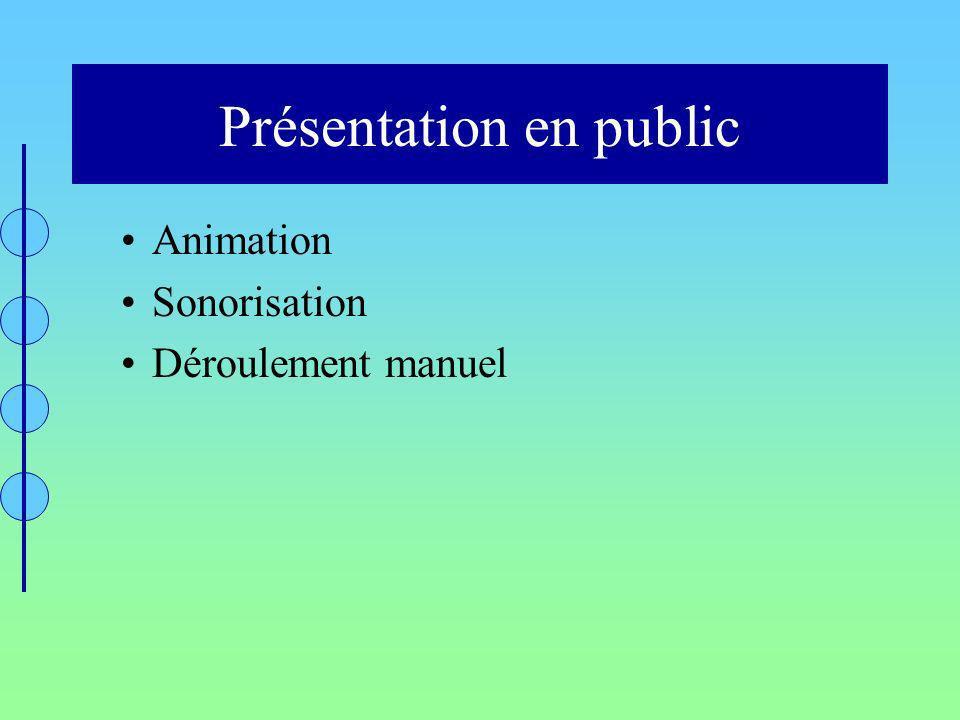 Présentation en public Animation Sonorisation Déroulement manuel