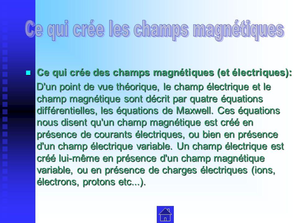 Ce qui crée des champs magnétiques (et électriques): Ce qui crée des champs magnétiques (et électriques): D un point de vue théorique, le champ électrique et le champ magnétique sont décrit par quatre équations différentielles, les équations de Maxwell.