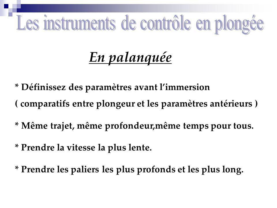 En palanquée * Définissez des paramètres avant limmersion ( comparatifs entre plongeur et les paramètres antérieurs ) * Même trajet, même profondeur,m