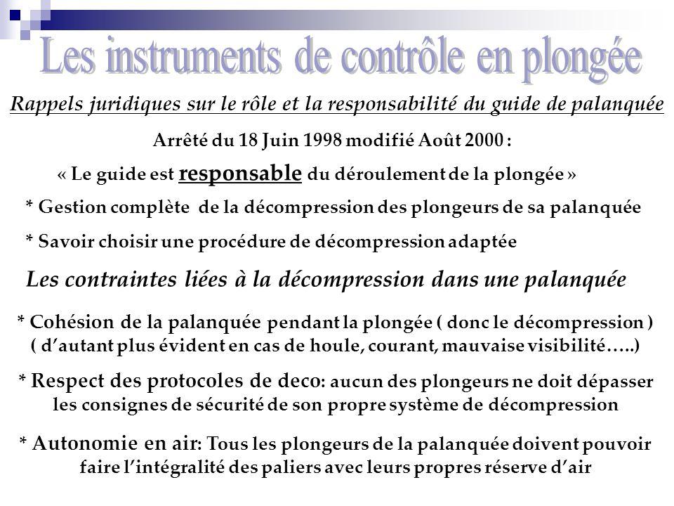 Rappels juridiques sur le rôle et la responsabilité du guide de palanquée Arrêté du 18 Juin 1998 modifié Août 2000 : « Le guide est responsable du dér