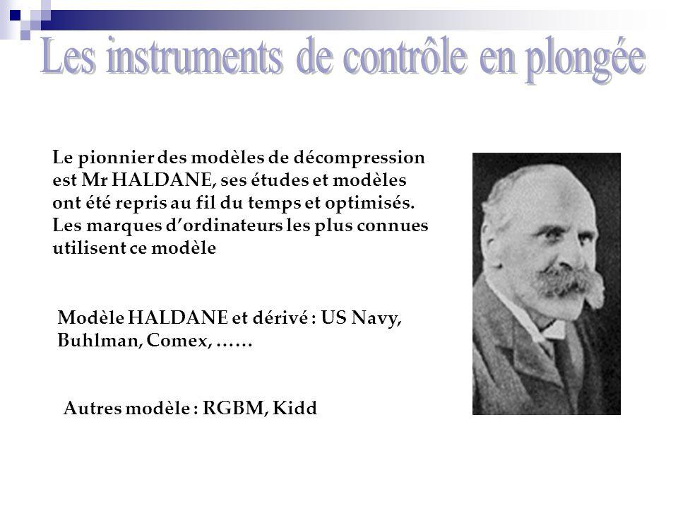 Le pionnier des modèles de décompression est Mr HALDANE, ses études et modèles ont été repris au fil du temps et optimisés. Les marques dordinateurs l