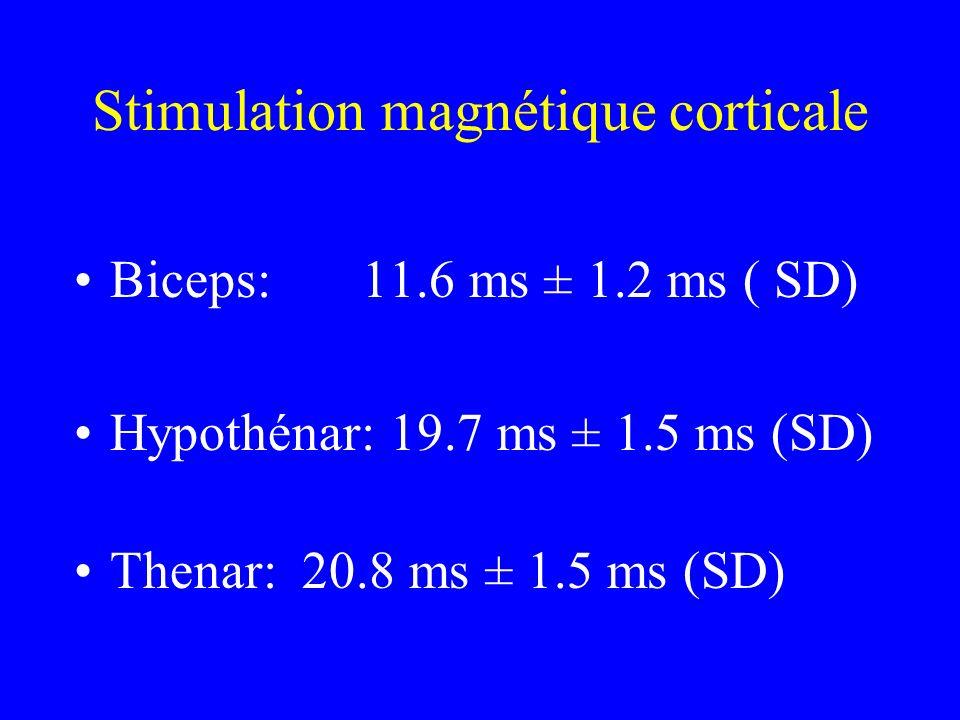 Stimulation magnétique corticale Biceps:11.6 ms ± 1.2 ms ( SD) Hypothénar: 19.7 ms ± 1.5 ms (SD) Thenar: 20.8 ms ± 1.5 ms (SD)