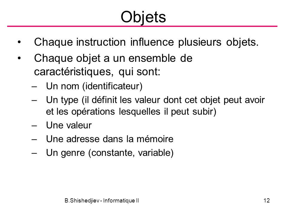 B.Shishedjiev - Informatique II12 Objets Chaque instruction influence plusieurs objets. Chaque objet a un ensemble de caractéristiques, qui sont: –Un