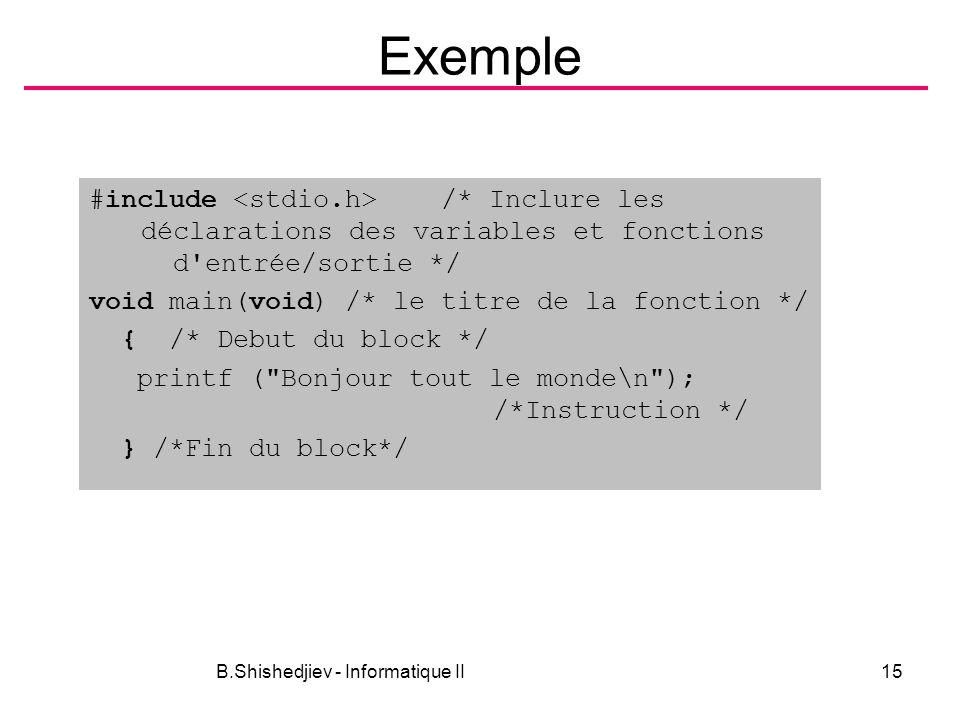 B.Shishedjiev - Informatique II15 Exemple #include /* Inclure les déclarations des variables et fonctions d entrée/sortie */ void main(void) /* le titre de la fonction */ { /* Debut du block */ printf ( Bonjour tout le monde\n ); /*Instruction */ } /*Fin du block*/