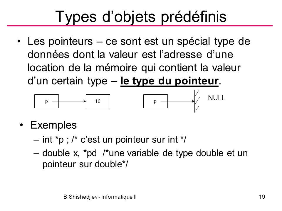 B.Shishedjiev - Informatique II19 Types dobjets prédéfinis Les pointeurs – ce sont est un spécial type de données dont la valeur est ladresse dune location de la mémoire qui contient la valeur dun certain type – le type du pointeur.