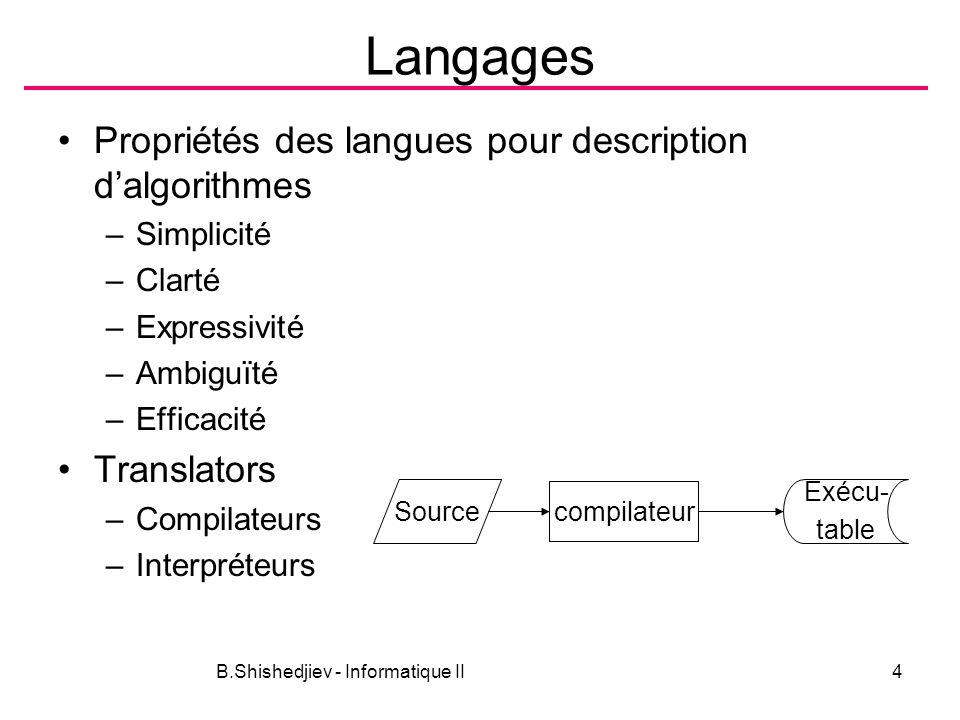 B.Shishedjiev - Informatique II4 Langages Propriétés des langues pour description dalgorithmes –Simplicité –Clarté –Expressivité –Ambiguïté –Efficacité Translators –Compilateurs –Interpréteurs compilateur Source Exécu- table