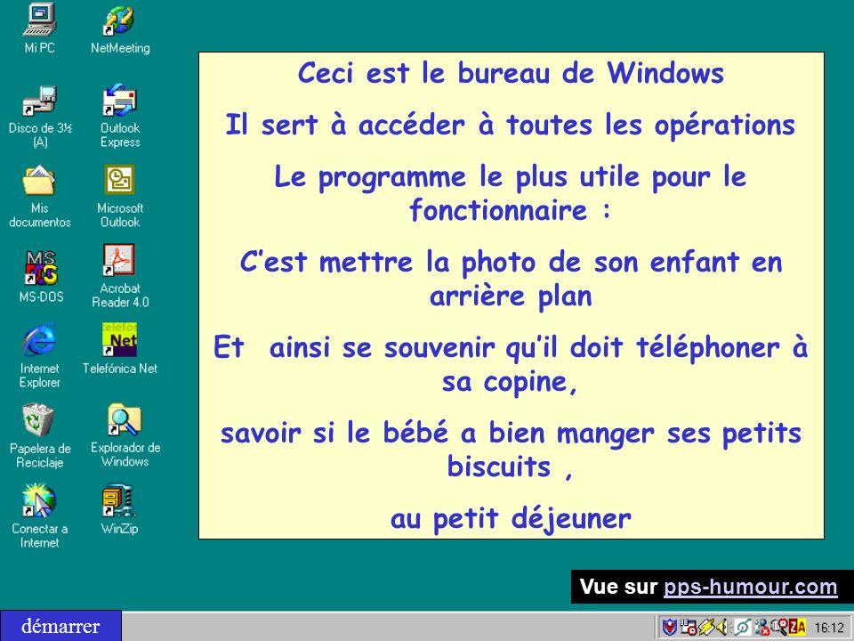 Ceci est le bureau de Windows Il sert à accéder à toutes les opérations Le programme le plus utile pour le fonctionnaire : Cest mettre la photo de son