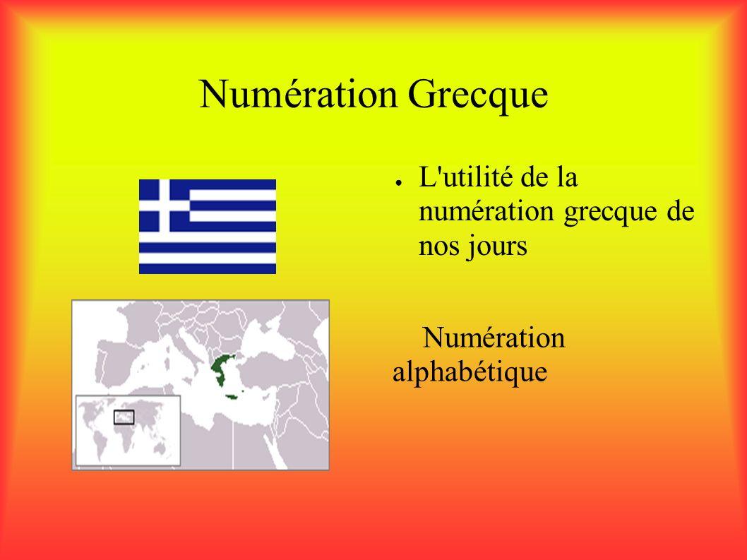 Numération Grecque L utilité de la numération grecque de nos jours L utilité de la numération grecque de nos jours Numération alphabétique