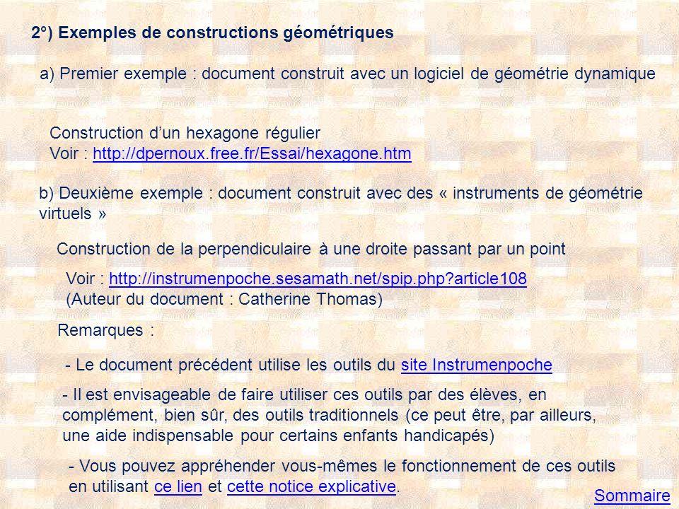 c) Présentation de « solides virtuels » Voir, par exemple : http://dpernoux.free.fr/Espace/octa.htmhttp://dpernoux.free.fr/Espace/octa.htm et http://dpernoux.free.fr/ExPE1/patocta.htm Remarque : Jai mis en lignes, à destination des personnes préparant le CRPE, des pages intitulées « Mathématiques animées » à cette adresse : http://dpernoux.free.fr/ExPE1/anim.htmhttp://dpernoux.free.fr/ExPE1/anim.htm (voir par exemple cette page concernant la notion dhomothétie)cette page concernant la notion dhomothétie Sommaire