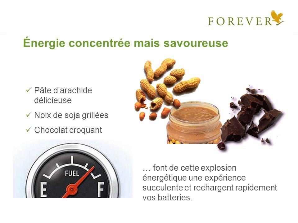 Énergie concentrée mais savoureuse Pâte darachide délicieuse Noix de soja grillées Chocolat croquant … font de cette explosion énergétique une expérie