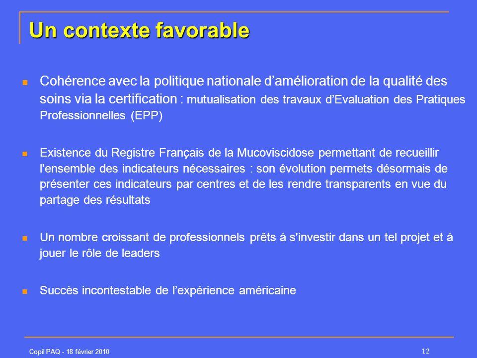 Copil PAQ - 18 février 2010 12 Un contexte favorable Cohérence avec la politique nationale damélioration de la qualité des soins via la certification